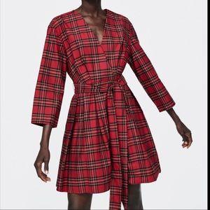 Zara Woman Plaid Mini Dress Red Tie Waist XS